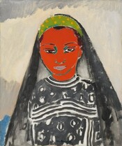 Shown from the waist up, a woman with a crimson red face, dark brown eyes, and a black-and-white garment faces and looks directly out at us in this stylized, vertical portrait painting. Her face is painted as a flat field of vibrant red outlined with teal. Her features are outlined in black and her closed lips are light gray. Her hair is pulled back under a black head covering that falls over her shoulders. The headdress seems to be held in place with a headband with bright yellow polka dots against spring green. Her dress is painted with thick, charcoal gray lines and circles against a white background. The brushstrokes are visible throughout and especially on the garment. In the background behind her, a field of ivory is contained within bands of steel gray above, along the top edge of the canvas, and below, behind her shoulders. Beyond her body, in the lower left corner is a patch of sky blue.