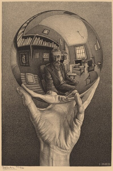 """In tones of gray and black against cream-colored paper, this vertical print shows a hand holding up a metallic sphere, which reflects the hand and body of the bearded man holding it, as well as the room behind the man. The background behind the hand and orb lightens from black along the bottom edge to light gray across the top. Wrinkles cross the wrist and the lines of the hand are clearly visible. In the reflection, which curves along the contour of the mirrored ball, the man's hair is brushed back from his high forehead, and he looks at or toward us with large eyes. His thick mustache and beard are neatly trimmed. He wears a suit with a vest over a tie and button-down shirt. His left fist rests on his left thigh, and he holds up the orb with his other hand. In the room behind him, to our right, an alcove with windows on two sides has two upholstered armchairs, a few side tables, and a lamp sitting on a sideboard. The man sits in a chair with wooden arms, next to a form that could be a reclining couch with a pillow. A shelf hangs on the wall behind the man, and pictures hang above and below the single row of books. The print has a grainy, speckled look, as if drawn with charcoal on textured paper. The print is signed in the lower left corner, under the printed image: """"MC Escher no 13/30."""" In the lower right corner, a number, """"1-35"""" and the conjoined block letters """"MCE"""" appear in white against the dark background."""