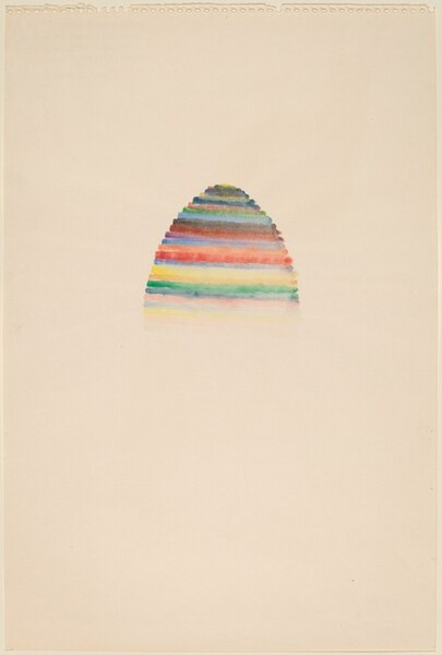 Stacked Color Drawing with Arch of Egg Shaped Form Painted