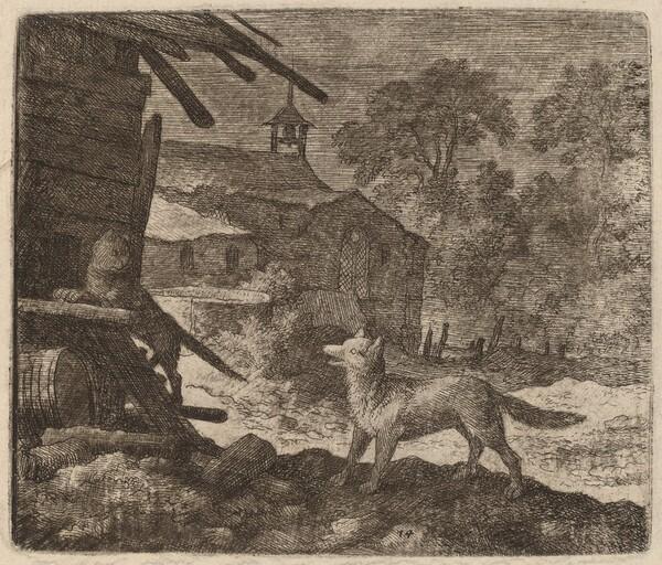 The Cat Enters the Barn as Reynard Looks On