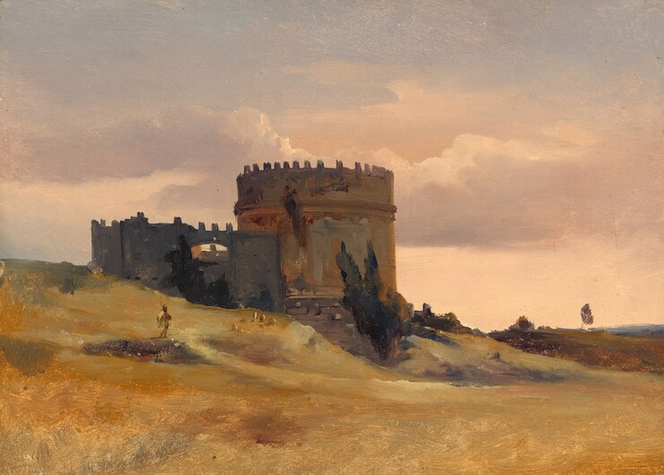 At the center of the picture, the ruins of a crenellated, round, stone tower sitting on gently sloping hills is silhouetted against a warm, pale peach-colored sky in this horizontal landscape painting. Two deep green cypress trees lean against the mottled golden-brown and rust-colored walls of the tower. To our left of the tower and slightly overlapping it, a high, charcoal-gray wall is also crenelated and in ruins. The land drops gently to the lower right corner. The low grasses in the field are straw and mustard-yellow, with occasional patches of moss-green. A person, loosely painted, stands on a low rise facing away from us, holding a tall staff, close to the tower. Several touches of tawny-brown beyond suggest sheep grazing in the meadow. Silver, rose-pink, and creamy white clouds sweep across the sky high above the ruins. The scene is loosely painted with visible brushstrokes, especially in the hills and tower.