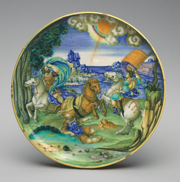 Shallow bowl on low foot with the Conversion of Saul