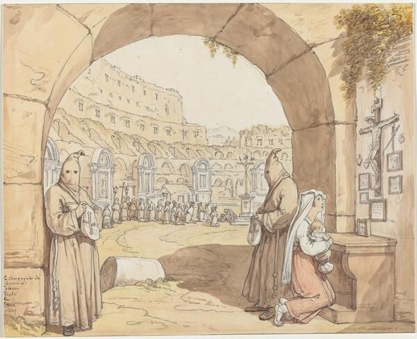 La Compagnia dei sacconi al Colosseo (Penitents Praying at Altars in the Colosseum)
