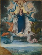 A woman wearing a long, deep royal-blue dress is surrounded by nine winged angels as she floats on a thin, bright white, downward-pointing crescent moon above a deep landscape with a town tucked into rolling hills in this vertical painting. The woman, Mary, and all the angels have pale, peachy skin and long, brown hair. Mary and the angels float against a pale, butter-yellow and pale peach field of light enclosed within a mass of steel-gray clouds. She presses her fingertips together in front of her chest and gazes down and to our right, her dark eyes almost closed. She has a delicate, straight nose, and her small mouth is closed. Her brown hair parts in the middle and flows down over her shoulders. The angels wear flowing gowns in sky or topaz blue, olive green, tangerine orange, white, or light pink, each with matching wings. Three angels place a gold crown on the woman's head. Four others hold up the edges of a silvery-white cape, which is fastened across her shoulders with brooches of white pearls surrounding ruby-red stones. The final two angels hold up the downward-facing points of the crescent beneath her. In the landscape below, groupings of trees are dotted among the rolling hills, with a village in the distance to our left. The blue, hazy horizon comes about a sixth of the way up the composition. A golden-brown boulder sits in the bottom left corner, closer to us. The paint is visibly cracked throughout and the wooden panel on which it is painted are visible around the edges.