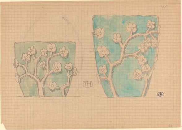 Two Pots with Floral Designs