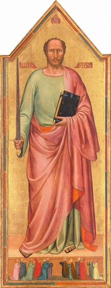 Against a shiny gold background, a man with peach-colored skin nearly fills this tall, narrow, vertical panel above a row of twelve people, significantly smaller in scale, kneeling by his feet and looking up at the man, their hands together in prayer. The top of the wooden panel on which this is painted Against a shiny gold background, a man with peach-colored skin nearly fills this tall, narrow, vertical panel above a row of twelve people, significantly smaller in scale, kneeling by his feet and looking up at the man, their hands together in prayer. The top of the panel comes to a point above the man's head. His body faces us and he looks at or toward us with caramel brown eyes under furrowed, dark eyebrows. His nose is long and straight and his mouth is small with a rosy lower lip. He has a brown, trimmed beard and his hair is receding. He holds up a gold-handled sword with a slate gray blade in his right hand, on our left, while in his other hand, he cradles a thick black book with a gold-edged pages against his chest. The man wears a floor-length, celery green tunic with a flowing, rose pink robe over his left shoulder, on our right, and around his body. The robe is lined with tangerine orange and has a faint, patterned border. The toes of his sandaled feet stick out. On a smaller scale, along the bottom of the painting, six pairs of people kneel facing the center, three couples to each side. Eleven of the people gaze with heads tipped back, up at the man with their hands folded as if in prayer. To our right, one woman turns and gestures, mouth open, to her neighbor. Their long robes are painted in shades of shell pink, indigo blue, scarlet red, butter yellow, sage green, and chestnut brown. Some wear white fabric over their hair while others are bareheaded. There is a noticeable network of cracks across the painting's surface, especially on the gold background behind the man. The background is incised around the man's head to create a halo. The band of alternat