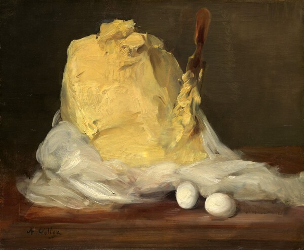 """A mound of creamy, yellow butter sits to our left of center on a wooden table against an olive-green background in this horizontal still life painting. White cloth, presumably the wrapper or cover, is pushed down around the base of the mound to expose the heap of butter. The top of the mound has a few gouge marks and furrows. A long, narrow wooden paddle is stuck vertically into the right side of the mound, and is covered almost up to the handle in butter. Two white eggs rest on the table in front of the white fabric, to our right of center. Loose brushstrokes are visible throughout, so the swipes of paint seem to almost become the butter. The artist signed the painting with black letters in the lower left corner: """"A. Vollon."""""""