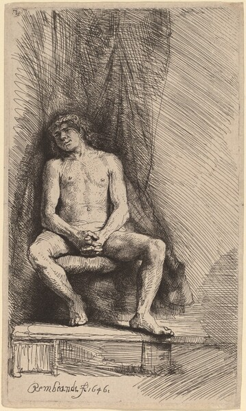 Nude Man Seated before a Curtain