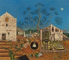 Two angular, cream colored buildings flanking a central, stylized tree are surrounded by brown soil, small animals, and farmhouse objects like watering cans and buckets beneath a clear azure blue sky in this square landscape painting. We seem to look straight onto the buildings and slightly down onto the earth in front of us. About a third of the way up the composition, the horizon is lined with trees and mountains in the deep distance. The long, spindly branches of the central tree nearly reach the top edge of the painting and abstracted, sickle shaped leaves are silhouetted against the sky so no leaves overlap.  The far edge of the whitewashed structure to our left is cropped. The façade is pierced by two small rectangular windows, an arched hatch at the top under a winch, and the back end of a horse is visible through an open door at the bottom center. Horizontal bands in front of the building suggest furrows, and a single stalk of corn grows up into the scene, seeming close to us. A pen protected by netting stretches out in front of the second structure, to the right of center. That wood-frame building has a triangular peaked roof and the left half is open, as if it were a lean-to. A goat, rooster, birds, and several rabbits occupy the pen. Watering cans, buckets and pails, a hoe, newspaper, lizard, and snail are spaced around the buildings. A tiny stylized person, perhaps a baby, appears in the distance between the buildings near a well where a woman works. A covered wagon, a round mill, trees, and plants fill the rest of the space between the buildings. A disk-like moon hangs in the sky to the right of the tree.