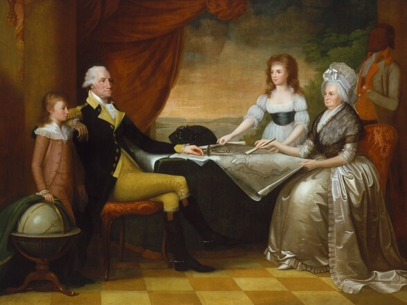 Two light-skinned people with white hair, George and Martha Washington, stand with two light-skinned young people, a boy and a girl, and a dark brown-skinned man around a table spread with papers and a map in this horizontal portrait. George Washington sits on a red upholstered chair at the table to our left and his body faces our right in profile. His legs are crossed, and he rests his right elbow, closer to us, on the back of the chair. He left arm rests on an open book like a pamphlet on the table next to a sword with a delicate silver hilt. To our left, the young boy stands next to Washington and also looks to our right in profile. He wears a rosy tan-colored suit with a white lacy collar. With his right hand, he pulls back a dark green cloth covering a globe on a wooden stand along the left edge of the canvas. Martha Washington sits at the right side of the table, across from her husband. She wears a voluminous ivory satin gown and petticoat with a black lace shawl, and an ivory cap with a satin bow covers her gray hair. She points to a spot on a map on the table with a closed fan held in her right hand. The young girl, wearing a gauzy white dress with a dark sash at the waist, stands on the opposite side of the table near the woman, holding the curling edges of the map. Behind the women, a dark-skinned man wearing orange and gray livery stands at attention in the shadows at the edge of the composition. His features are indistinct but he faces our left in profile, and holds one hand to his chest. The people seem to sit in a room with a gold-and-yellow colored checkerboard floor and a red cloth drapes from columns frame the scene to each side. It is unclear whether a river view at the back of the room is seen through an open window or door, or if it's a large painting behind the people.