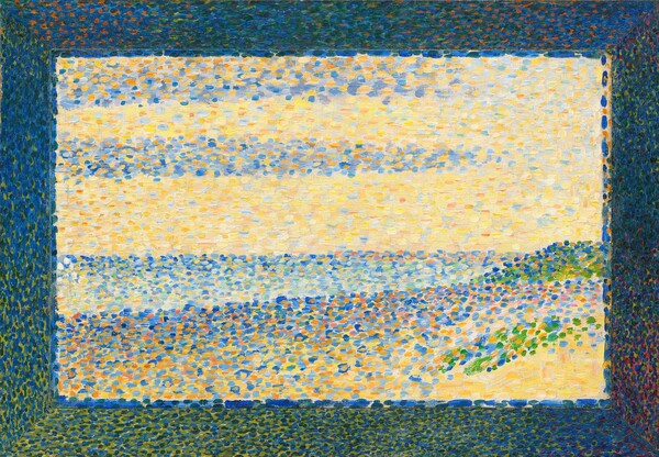 This horizontal rectangular painting is created entirely with dots and touches of sky and royal blues, butter and sunshine yellows, and spring green. Only once we step back can we tell it shows a sandy dune stretching before us in front of the sea beyond. Bands of blue against a yellow field above the horizon reads as blue clouds against a sunny sky. The artist also painted a darker border made of dots in navy blue, army green, and a little bit of rust orange around the edge to create a painted frame.