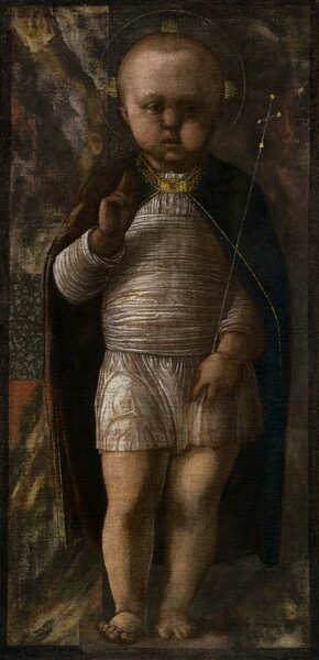 Nearly filling this vertical painting, a young, light-skinned child stands holding a delicate scepter with one hand and holding up the other with the first two fingers raised. The child is lit from our left, but the overall tone of the painting is dark, almost as if shrouded in shadow. His body faces us, and he looks at or toward us with round, dark eyes. He has short blond hair and a tall forehead, chubby cheeks, and his bow lips are parted. Short, gold rays emanate from the sides and top of his head within a thin gold band to create a halo. He wears a thigh-length, white gossamer tunic, and more of that fabric is wrapped around his torso. His dark, burgundy-red cape falls open across his shoulders and down to his calves, and is edged with gold around the collar and down the front. A rectangular, jewel-encrusted gold clasp holds it closed at the throat. He stands with most of his weight on his left leg, to our right, on bare feet. His right hand, to our left, is raised to his chest and closed in a fist with the first two fingers extended up. The delicate silver scepter he holds with his other hand is topped with a cross. Swirling patches of muted brick red, harvest yellow, pine green, and off white behind him could be a tapestry. A thin, dark band creates a border around the edges of the painting.
