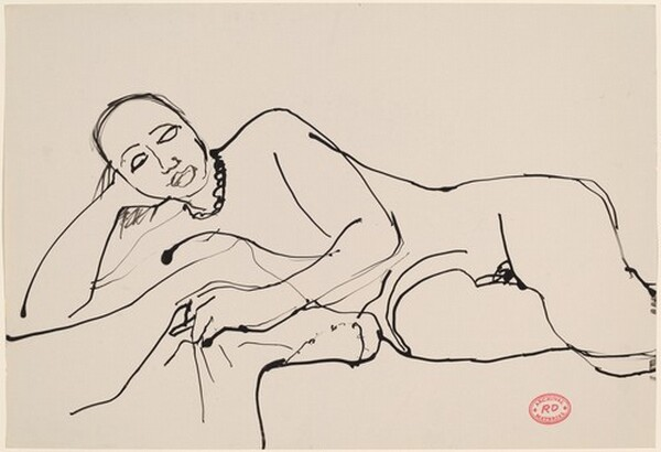 Untitled [reclining female nude wearing a necklace]