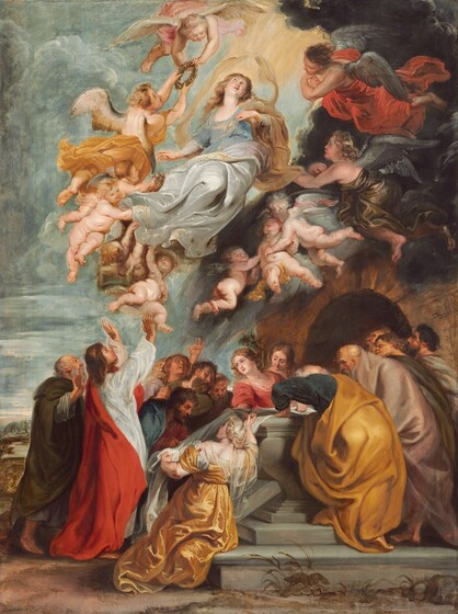 A woman, Mary, floats in the sky surrounded by eleven winged angels above fifteen men and women gathered around an open, stone coffin in this vertical painting. All the people have light, cream-colored skin. Near the top center of the composition, the woman's torso twists to our left as her knees turn to our right. She lifts her left hand, to our right, to her chest and the opposite arm reaches down along her body. She looks up with dark eyes, her head tipped slightly back. She has a round face, a small nose, flushed cheeks, and a heart-shaped, rose-pink mouth. Her long, golden-brown hair falls over the shoulders of her scoop-necked, powder-blue dress. A honey-brown wrap loops over one shoulder and billows up to surround her head and shoulders. A voluminous silver cloth edged with gold flows around her hips, legs, and feet. Seven of the angels gathered near Mary's feet and legs are baby-like, pudgy children with gossamer white or dusty gray wings. Most of these angels are nude but the genitals of two are covered in ivory or golden yellow cloths. Four taller, so presumably older, angels float around Mary's head and shoulders with two to each side. Two angels to our left, wearing petal pink or butterscotch yellow, hold a ring of leaves up toward her head. The angels to our right wear ruby red or bronze gold, and they look toward Mary with their arms crossed over their chests. The hair and drapery of all of the angels flutter as if in a breeze. Below this group, on the dirt earth, twelve men and three women gather around an open stone coffin set in front of an arched opening to a hillside. Some in the group look into the coffin, some look upwards, and some look toward a man standing to our left. That man has long, chestnut-brown hair and wears a scarlet robe over a white tunic. He looks up toward Mary with his head tipped back and raises both hands high, palms facing the scene in the sky. The three women are closest to the coffin, which sits on a two-stepped platform. 