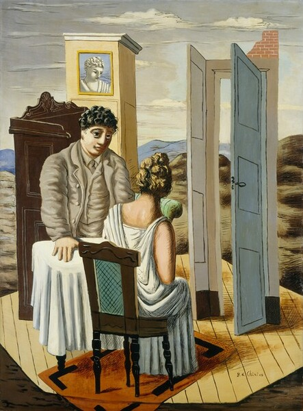 A man, woman, small table, and two fragments of walls float on an octagonal, straw-colored floor amid a landscape with bare, rolling, olive-green hills in this stylized, vertical painting. The man and woman have fair skin and are positioned on opposite sides of the table from each other. To our left, the heavily-built man stands with his right hand, to our left, planted on the white tablecloth that nearly reaches the floor. He is cleanshaven with curly black hair, a round face, and a prominent nose. His large, dark eyes are deeply set, and a few cross-hatched black lines could indicate shadows or a black eye. His rumpled suit, vest, shirt, and tie are all sand-brown. He looks toward a woman seated on our side of the table, opposite him. Her body is angled away from us to our right. Her blond hair is pulled up and she wears a white, sleeveless, floor-length dress that drapes over her shoulders and down her back. Her wooden chair has a teal-blue inset panel at the back and turned legs, and it sits on a pumpkin-orange, rectangular area rug. The paneled floor seems to float in the landscape. The robin's egg-blue door to our right, opposite the woman, opens inward in its frame, and the corner above the top right is stacked with laid bricks. A sliver alongside the door frame suggests the turning of a corner in the room. To our left, behind the man, a second fragment of yellow-paneled wall stands behind the corner of a dark, mahogany dresser or credenza carved along its back with curving, S-shaped molding. A framed picture showing the head and shoulders of a woman in tones of white and gray against a periwinkle blue background hangs at the top of the yellow wall. The curving back of a mint-green, upholstered chair peeks out over the woman's right shoulder. The floor is set among barren hills with a watery blue sky above. The painting is created mostly with areas of flat colors with outlines and hatched shading in black and white, like pen strokes. The artist signed the pai