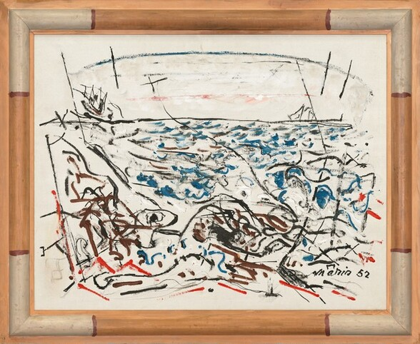 """Frenetic, bold strokes of black, blue, red, brown, and white dance across a white ground in this painting to suggest an abstracted seascape. A long, horizontal black line three-quarters of the way up the canvas suggests the horizon line. An arched line above seems supported by diagonal lines at the left and right edge, to suggest the span of an arched bridge in the distance. Blue squiggles are mostly contained within the center of the composition to suggest water while brown lines and red marks fill the lower corners, perhaps alluding to a beach or shoreline. The artist signed the work with bold black letters and the date in the lower right corner: """"Marin 52."""" The frame has been painted white in the corners and tan on each side, with darker brown lines separating the alternating bands of white and light brown."""