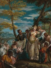 Six elegantly dressed, light-skinned women, a man with dark brown skin, and a person of short stature gather around a nude baby boy in front of a landscape with a town in the distance in this vertical painting. Attention is focused on the baby, held by a woman kneeling to our lower left, and a woman wearing a silver and gold-colored brocade dress standing near the center of the painting. Her dress is trimmed with gold and jewels, she wears a pearl necklace, and her blond hair is wrapped with pearls around a gold, jeweled tiara. She leans towards another woman with blond, pearl-adorned hair wearing a blue and white stripped dress with puffed sleeves. In front of that pair, and along the right edge of the painting, another woman with pearls in her hair bends over a person of short stature and gestures towards the baby. The person of short stature has brown hair over a high forehead and a ruddy complexion. He holds an instrument like a recorder and wears a navy blue and crimson red jester's costume. Seen from the waist up in the lower left corner of the painting, the man with dark skin has close-cropped black hair and wears an orange garment. Looking onto the scene from the sunken riverbed, he gazes to our right in profile and holds a basket. Above him, the woman holding the baby shows it to and looks towards the woman wearing silver and gold. An older woman holds up a cloth, presumably to wrap the baby. Another person looks on over that woman's shoulder and two women stand farther back to our left, apart from this group. Behind the main scene, a few spindly trees with feathery pine green or harvest yellow leaves extend off the top edge of the canvas. An arched bridge spans the river in the distance to the left and beyond a town is painted in blues and grays against rocky hills. Blue sky above is strewn with white clouds.