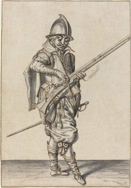 Elegantly Dressed Soldier Preparing to Fire His Caliver