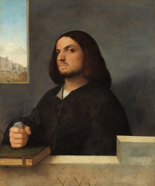 """Shown from the chest up behind an ivory-colored stone ledge, a light-skinned man with a mustache, beard, and shoulder-length brown hair, wearing a black garment with voluminous sleeves, tilts his head back to look at us from the corner of his eyes in this vertical portrait painting. His body is angled to our left but he tips his head back to look past his rounded nose at us with dark eyes from under arched brows. His right fist, on our left, rests on a closed book bound in moss green, which is fastened with a metal clasp. The book rests on the ivory-colored stone ledge that steps up to our right, in front of his opposite shoulder. He clenches a wad of nickel-gray cloth in the hand on the book and his other arm rests by his side, extending out of view behind the ledge. His black, long-sleeved jacket has full sleeves and is open at the neck over a collarless white shirt. A squared opening is cut into the elephant-gray stone wall behind him to our left. A cityscape beneath a watery blue sky is visible in the distance out the window. The Roman characters """"XXO"""" appear to be carved into the front face of the ledge, at the bottom edge of the canvas."""