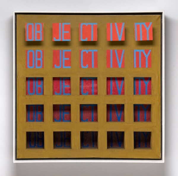 """Twenty-five squares are arranged in a grid on this square canvas, with five even rows across and five even rows down. The word """"OBJECTIVITY"""" is written in blue capital letters across each of the five rows to appear five times. On each row, each square shows two letters, that is, """"OB,"""" """"JE,"""" """"CT,"""" and """"IV"""", except for the right-most squares, which contain the last three letters, """"ITY."""" The five squares on the top row appear to float in front of the canvas. The second row down is painted on the surface of the canvas. The three rows below gradually recede farther behind the surface of the canvas as they descend. The background behind the blue letters is orange in the top row and it gradually becomes a darker red in the rows below. The face of the canvas is painted a dark khaki. The overall impact is that the word seems to get darker, more shadowed, and harder to read as the eye travels down the work."""