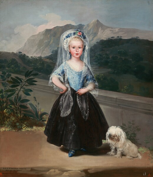 """A young girl with pale ivory skin, blond hair, and pink cheeks, stands facing at us from in front of a landscape with forests and mountains in the center of this vertical portrait painting. She looks at us with wide, gray eyes under delicately arched eyebrows. She has a short, rounded nose and her full, pink lips are parted. Her smooth, rounded cheeks are flushed. She wears a lace-trimmed, sky-blue, scoop-necked bodice that comes to a V at her waist, a full, ankle-length black skirt, and a white bonnet with a royal blue ribbon, which has a pink rose at the bow. Her long, white, lacy veil, called a mantilla, drapes over the hat, over her shoulders, and to her waist. She holds one side of the mantilla with her right hand at her waist, and stands with her right wrist, on our left, propped against her hip. One cobalt blue, pointed shoe with a silver buckle peeks out under her skirt. A small, shaggy, white-haired dog sits at her feet to our right. A low, gray stone wall behind the girl and dog angles away from us to the left. Some plants with dark green leaves grow in front of the wall to our left. Beyond the wall, pine-green, treed foothills rise to meet rocky, nickel-gray mountains under a watery blue sky with pale, petal-pink clouds kicking up over the mountains. An inscription in all capital letters is painted in black in the lower left corner: """"LA S.D. MARIA TERESA HIXA DEL SER. INFANTE D. LUIS DE EDAD DE DOS ANOS Y NUEVE MESES."""" A crimson-red letter """"B."""" is painted to the left nearby. In the lower right corner, the number """"15."""" is painted in white and the number """"5."""" is painted in red."""