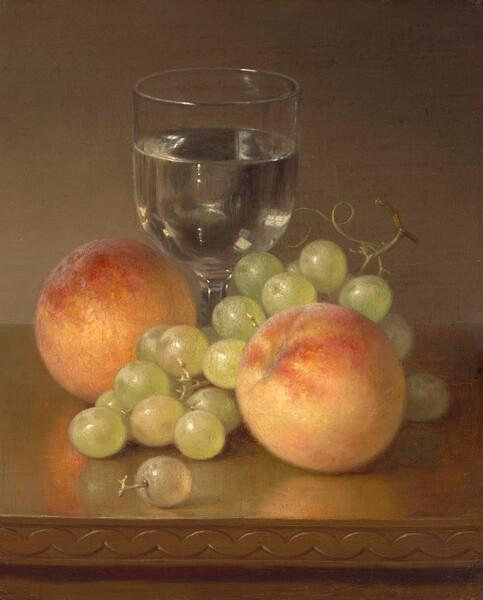 Still Life, Wineglass, Two Peaches