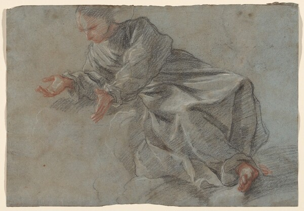 A Monk Seated with Arms Outstretched [Study for the Virgin in the Vision of Blessed Felice da Cantalice]