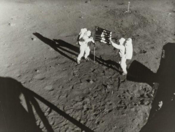 Apollo 11 Planting Flag on Moon