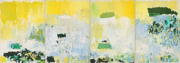 """The top quarter of this horizontal abstract painting is dominated by bright, sunshine yellow over areas of sky blue, moss and forest greens, and white below. The painting is made up of four vertical panels joined to make one long composition. Yellow dominates the leftmost panel over a field of pale blue marked with forest and spring greens, teal, and yellow, mostly along the bottom edge of the canvas. The field of pale blue and white take up most of the space in the two center panels, with a band of yellow above and deep green marks below. In the rightmost panel, the blue field is more variegated with darker blues, shades of green, white, and yellow. Throughout, some of the colors are layered and sometimes they are applied next to each other. Thick and thin areas of paint and drips create a variety of textures on the surface of each panel. The artist signed this work in pencil in the lower right corner: """"Joan Mitchell."""""""