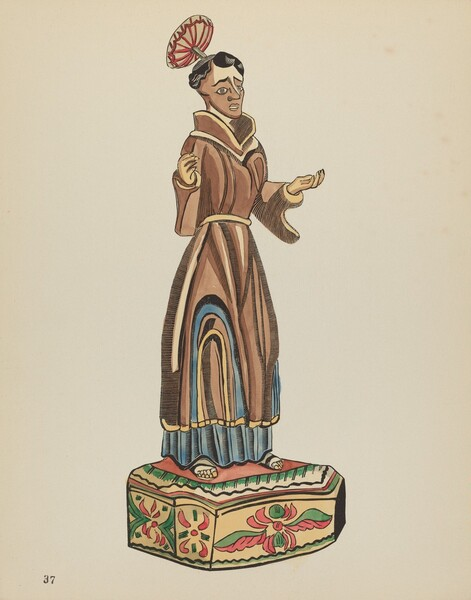Plate 37: St. Anthony Bulto: From Portfolio Spanish Colonial Designs of New Mexico
