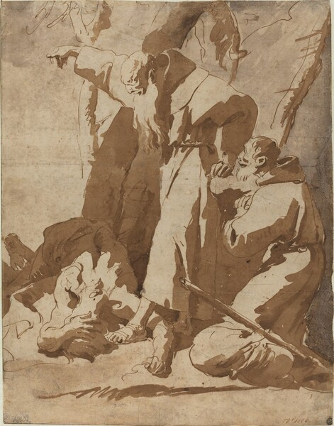Two Monks with a Prostrate Man