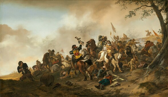 """A few dozen light skinned men, some on horseback and some on foot, fight each other on a low hill in this horizontal battle scene. The men and horses are arranged in a band that crosses the horizon of the painting and swells in numbers as it moves to our right. Some men wield guns, knives, or swords as they attack each other. Their clothing varies in color, including black, brown, sage green, currant red, and pale yellow, and no one wears uniforms. While much of the action is in chaos, a few details stand out. For instance, a man in the center of the fray lies on the ground, dead or dying. A white horse behind him steps over another man who has fallen, and the rider of that horse is about to be struck by another man. To the left of the fray, a man wearing tattered black clothing looks over his shoulder at the crowd as he lurches away. It appears that one hand may have been severely injured or even cut off, leaving a bloody stump. A large drum lays on the ground nearby. The hill where the fight takes place sweeps gently upwards from the lower left corner to more than hallway up the height of the panel to the right. Flags in the hazy distance have red, white, and blue horizontal stripes and a tall, thin tree grows up the right edge of the panel to frame the scene. A watery blue sky is mostly filled with parchment colored clouds. The artist signed the work with his initials in brown paint in the lower right corner: """"PH. W."""""""