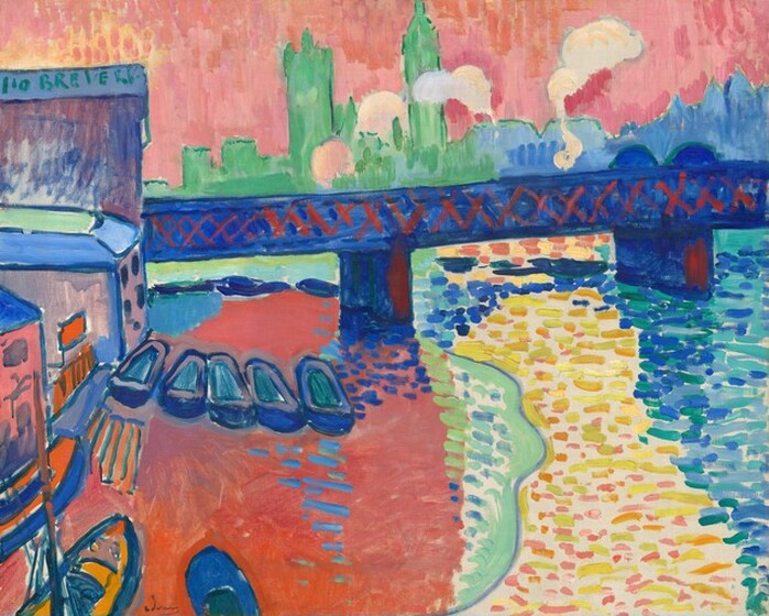 """We seem to hover over a river across from a bridge with a city skyline beyond in this horizontal landscape, which is painted entirely with broad, visible brushstrokes in vivid, saturated colors. The river spans nearly the width of the canvas, and the riverbank is lined to our left with a row of several buildings between us and the bridge. Those buildings are outlined with royal blue and filled in with mostly flat areas of color in coral pink, mint green, tangerine orange, and pinkish-tan. Letters across the top of the building farthest from us reads """"BREVER."""" Eight boats are tied up at the foot of the buildings. The pointed hulls of three extend into the scene from the lower left corner, painted in marigold orange and outlined in cobalt blue. Five more boats, with rounded prows and hulls and painted with lapis blue and muted aqua, line up like a row of empty shoes. The bridge runs from behind the tallest building to our left across and off the canvas, and is painted with deep lapis-blue with crimson-red Xes crisscrossing the span to suggest trestles. The front faces of the pilings below are also highlighted with crimson red. The river fills most of the bottom half of the painting. The water to our left is painted as a field of coral pink with a few, short horizontal baby and cobalt blue strokes, suggesting reflections of the boats and a bridge piling. A narrow band of kiwi green and sky blue lines the pink field to our right. Next to it, the water is painted as short, horizontal, disconnected strokes and dots mostly in bumblebee yellow with some strokes in bubblegum pink and pale burnt orange, all against the off-white of the canvas below. The final zone, to our right, is more densely painted with short dashes in indigo, turquoise, and aqua. Beyond the bridge, the skyline is painted in silhouette with the spiky spires of Big Ben and the Houses of Parliament to our left in mint green and a mass of shorter buildings in periwinkle blue to our right. Four clouds of pale"""