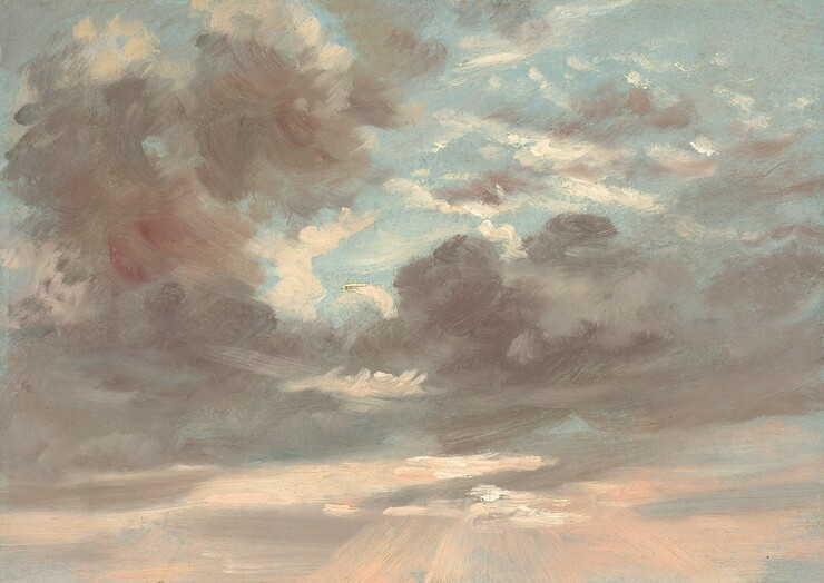 This horizontal painting is filled with gray and white clouds against a blue sky. Wisps of white clouds are interspersed among banks of darker gray clouds against a pale blue sky in the top half of the painting. A tower of gray clouds to the left obscure a deep red circle, which only becomes evident upon careful inspection. Rays of pale shell pink streak down from the clouds along the bottom edge of the painting to suggest sunlight at sunset.