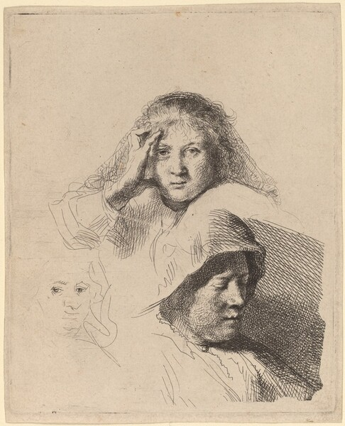 Three Heads of Women, One Lightly Etched