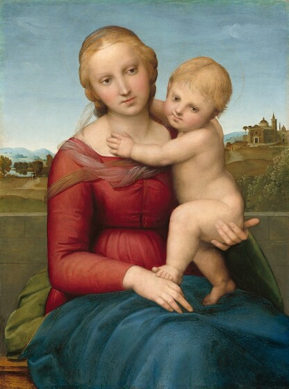 A woman and nude child, both with pale skin, sit in front of a deep landscape in this vertical painting. Seen from about the knees up, the woman's body is angled slightly to our and she supports the baby under his bottom with her left hand, on our right. She wears a long-sleeved crimson dress with a sheer, nearly translucent fabric around her shoulders. Fern green drapery, nearly matching the color of the grassy landscape, is gathered behind her hips and a deep lapis-blue cloth lays across her lap. Her blonde hair is pulled back. She has a straight nose, rosy cheeks, and her pink lips are closed. Her head tilts to our left and she gazes with brown eyes toward the lower right of the composition. Her right hand, on our left, rests in her lap and she holds the baby with her opposite hand. The blond baby half-sits, half stands on the woman's lap so one foot rests on the hand in the woman's lap. He reaches his arms towards her neck and turns to look over his left shoulder, also gazing towards the lower right corner. Thin, gold halos above their heads are barely visible against the pale blue sky. An expanse of green grass extends behind the pair leading to a cluster of trees to our left and buildings on a distant hill to our right. Hazy blue hills line the horizon in the distance below a blue, nearly cloudless sky.