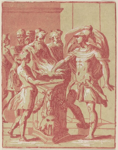 Mucius Scaevola Putting his Hand in a Fire
