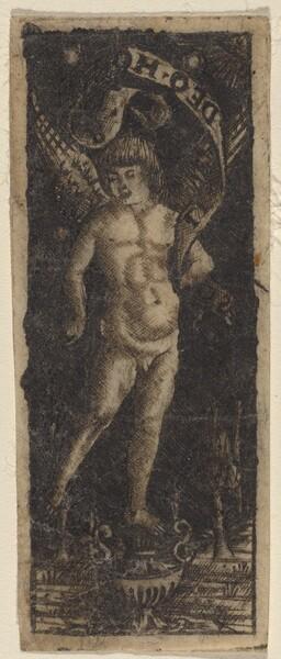 Cherub on a Vase with Inscription: SOLI DEO HONOR