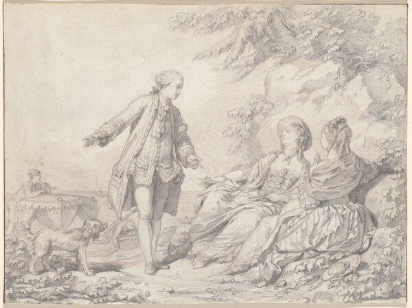 A Man and Two Women on a Rocky Shore