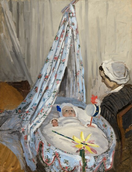 We look slightly down onto a baby tucked snugly into an oval-shaped cradle with a woman sitting on the far side looking down at the child in this vertical painting. Both the woman and baby have light skin. The cradle is draped a sky-blue, scalloped cloth decorated with pink flowers and green leaves. A curtain of the same material is tied above so it hangs down behind the head of the cradle from the top center of the composition. The baby's dark eyes are wide open and he seems to gaze ahead. His cheeks are flushed peach, and his coral-pink lips are pressed down in a crescent shape. The baby's head is wrapped in a white hood with a royal blue bow or decoration over the right ear, to our left. Two loosely painted, round, salmon-pink shapes on either side of the child suggest hands emerging from the under the white blanket. In his left fist, to our right, the baby holds a white drum on a pumpkin orange stick, with scarlet-red and pearl-white forms, possibly feathers, at the top. The forest-green handle of a pinwheel lies across the baby's legs in the cradle. Another dark green, vertical form overlapping the edge of the crib suggests that another toy is clipped or propped there. It's difficult to tell if the pinwheel in the crib has canary-yellow and mauve-pink blades or if there are two, overlapping toys. The woman sits with her back to us but angled so we see her profile looking down at the baby. Her face is painted with broad strokes of sand-brown and parchment white. Her dark hair is pulled back under a white cap and she wears a charcoal-grey and black, vertically striped dress with a white collar. Her back rests against the slats of a wooden chair, which seems to dissolve into the loosely painted, fawn-brown area in the lower right corner. The cradle sits next to a bed, mostly cut off by the left edge of the painting, with a caramel-brown blanket or cover. Eggshell-white cloth seems to hang around the bed and along the wall behind the woman. The scene is loosely pai