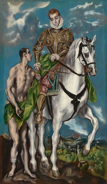 A nearly nude man with beige-colored skin stands next to and looks up at a man with ashen, ivory-colored skin, wearing armor and riding a bright white horse in this vertical painting. The horizon line comes less than a quarter of the way up the composition, and the sky behind the men and horse is vivid, aqua blue with a few silvery-gray and pale, butter yellow clouds floating along the top edge of the composition. The painting is created with long, blended brushstrokes, and the limbs and features of the two men and horse are elongated and have delicate, dark outlines. The horse's body is angled to our right but it looks at us from the corners of its dark eyes. One front leg is raised. The rider looks down toward the man on foot at his side, to our left. He has dark, arched eyebrows, a long, straight nose, a pointed chin, and short, copper-orange hair. Wide ruffs pleated into figure-eights encircle his neck and wrists. His chest and arms are covered with plates of steel-gray armor edged and decorated with gold bands and medallions. He wears crimson-red pantaloons and stockings with mustard-yellow boots. With his right hand, to our left, he holds the gold hilt of a long, thin sword along the horse's body. With his opposite hand, he holds a swath of lime-green fabric, which drapes down the side of the horse and across the hips of the man standing next to the rider. The sheen of the fabric is suggested with canary-yellow highlights where the light catches it. The standing man has short, dark brown hair and eyebrows. He looks to our right in profile, toward the rider, with pink lips parted. He holds the green fabric with his left hand, to our right, and he has a bandage around his leg near his right ankle. The horse and man stand on a spit of dark brown land, with a landscape of trees, buildings, and mountains deep in the distance beyond.