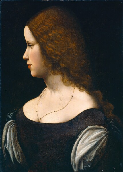 Seen from the bust up against a black background, the head and shoulders of a young lady with cream-white skin and long, wavy brown hair fills this vertical portrait painting. The woman faces our left in profile and she looks off in that direction with light brown eyes, her head tipped slightly forward. Her skin is smooth and her full cheeks are lightly flushed. The eyebrow we can see is thin and arched. She has a small, straight, rounded nose and her full terracotta-red lips are closed. Her hair is gathered back over her shoulders, but a few fine, curling tendrils fall over her chest. She wears a thin necklace that disappears into the cleavage of her low-cut, navy blue bodice, which has sky-blue, puffed sleeves. The back of her head is lost in shadow against the dark background.