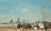 About two dozen men and women sit in straight-backed, wooden chairs gathered along a sandy beach near low, gently breaking waves with sailboats floating in the ocean beyond in this horizontal landscape painting. The scene is loosely painted throughout, making much of the detail indistinct. Most of the people sit with their backs to us but the faces we can see suggest they all have light skin. The people gather in a loose crowd that crosses the right two-thirds of the composition. The women wear long dresses with full skirts, their shoulders wrapped in matching shawls in black, smoke gray, royal or arctic blue, rust-red, or cream white. Some wear straw-colored hats with black or baby blue bands and others wear scarves over their hair. The men also wear hats, most of them black top hats, and suits in black or pecan brown. Some people hold up parasols in harvest gold, slate blue, teal, or gray. A few straight-backed, wooden chairs with rushed seats sit empty or tipped over to our left of the group. Two children, one wearing marigold orange and the other topaz blue, and both wearing straw hats, kneel or squat and bend over the sand at the back center of the group. Two dark brown or black dogs, one small and one large, stand behind the group, to our right. Two tall, wooden poles rise high above the crowd near the right edge of the composition. A thin banner with blue, white, and red stripes flutters from the pole closer to us, and a red banner lifts in the breeze in the one farther away. Painted with thick, visible brushstrokes, low waves lined with ivory white crests lap against the shore in bands of pale lilac purple, light turquoise, and aquamarine blue just beyond the crowd. Two people sit in a rowboat in the ocean to our left and several sailboats with oatmeal-tan sails move into the distance to the horizon, which comes about a quarter of the way up the composition. Bright white strokes to our right could be sails in bright sunlight, deep in the distance. One boat a