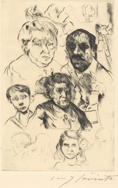 Verschiedene Köpfe und Selbstbildnis (Assorted Heads and Self-Portrait)