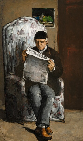 "A man sitting in a tall, upholstered armchair reads a newspaper in this vertical portrait painting. The man and the room in which he sits is loosely painted with bold, visible strokes throughout. He holds the paper close to his face and the top edge falls over so we can read the title, ""L'EVENEMENT."" He has a light, olive-toned complexion and his white hair peeks from under a close-fitting black skullcap. He wears a high-necked white shirt under a chocolate brown jacket, steel gray trousers, white socks, and camel-brown shoes. The fabric on the chair seems to have a floral pattern on a white background suggested with broad brushstrokes. The man and chair are outlined in black. The man sits in the corner of a room with a closed door behind him to our right. Hanging on the wall over his head, and partially obscured by it, is small, possibly unframed still life painting with what could be kelly green fruit and a royal blue cup against a black background."