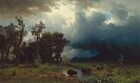The top three quarters of this horizontal landscape painting is filled with roiling, deeply shadowed clouds that tower over a line of buffalo that cross a grassy meadow below. Small in scale, the buffalo form a line that extends away from us at a diagonal into the distance to our right. Sunlight creates a bright reflection on the stream where the frontmost buffalo walks across, but the other animals are nearly backlit in the raking light. Trees, with branches whipping in the wind, rise along the left side of the painting and the mountainous landscape to our right lost in darkness under heavy clouds to our right. The clouds above lighten from navy blue in the lower right corner of the sky to slate and silvery blue and white at the center of the painting. Small patches of blue sky are visible between a few breaks in the clouds, and sunlight falls on a cliff-like mountain face in the distance behind the trees to our left. Another bank of parchment-colored clouds in the upper left corner, seeming closer to us, contrasts with the glimmering light highlighting some of the clouds nearby.