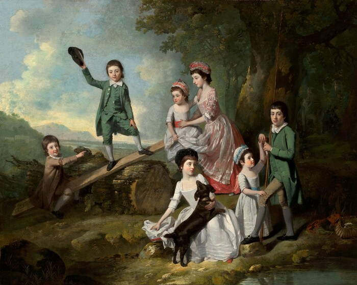Three young boys, four girls, and a dark brown dog gather in a loose semi-circle in a grassy clearing near a grove of trees in this horizontal landscape painting. The children all have pale, white skin, brown hair, and dark eyes. The girls wear corseted dresses with long skirts and caps, and the boys wear jackets with tails, knee-length pants, stockings, and black shoes with buckles. The three boys look at us while the four girls look around the scene. A long plank of wood has been laid across a thick, sawed tree trunk to make a seesaw. One boy, wearing fawn brown, sits on one end near the ground, to our left. The oldest girl braces the youngest on the opposite end of the plank, which is lifted into the air. The oldest girl wears a sheer, white apron over a coral-pink dress. Like the other two girls, the youngest child wears a white dress but hers has a coral-pink sash and the same color ribbons are tied into her and the oldest girl's white caps. A boy wearing a moss-green suit looks at us and raises his dark cap in one hand as he stands balanced with his feet widely planted at the center of the angled plank of wood. To our right and closer to us, one of the younger girls, wearing a robin's egg blue sash with a blue ribbon in her cap, stands in front of the oldest boy, who holds a tall staff that reaches off the top edge of the painting in the crook of one elbow. This boy holds a small, silver fish in both hands. The girl touches one of his hands with her own, and looks up at the fish. The fourth girl and the dog sit on the ground at the front center of the painting. The dog rests its front legs across her lap and she looks off to our right. A pool of water reflects light in the lower right corner of the painting, and a deeply shadowed, verdant forest frames the rightmost third of the composition. Upon closer inspection, we find an open basket and red cloth near the water, almost lost in shadow near the lower right corner of the painting. Beyond the group of childre
