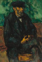 Seen from the ankles up, a bearded man with a copper-colored completion, wearing a dark, navy-blue brimmed cap, vest, jacket, and pants sits on a wooden bench or chair against a green background in this vertical portrait. The scene is loosely painted with thick, visible brushstrokes in kelly and shamrock green, deep, midnight-blue, tawny brown, and charcoal gray to create a mottled effect. The man's body is angled to our right and he looks in that direction. His legs are crossed and his fingers interlaced in his lap, with one thumb hooked between buttons on his vest. He has a long nose and his lips are closed. Touches of vibrant robin's egg-blue, sage green, pumpkin orange, and brick red enliven the dark clothing and shadows on the man's features.