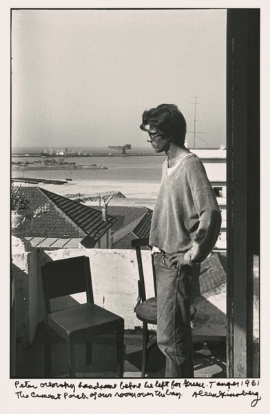 Peter Orlovsky handsome before he left for Greece. Tangier 1961 The cement porch of our room over the bay.