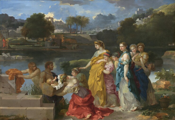 Nine women and girls create a procession leading to a blond, smiling infant laying in a basket being held by a man next to a riverbank that runs across this horizontal landscape painting. The tallest woman, near the center of the retinue, wears a gold, crown-like diadem, and a toga-like gown of golden yellow over a pale, slate-blue, short-sleeved dress. She stands facing our left in profile, and looks toward the baby with dark eyes under dark, arched eyebrows. Her nose is long and straight, her pink lips are closed in a faint smile, and she has a rounded chin and jawline. Her wavy, dark blond hair is braided and pulled back, and she wears a gold earring on the ear we can see. She reaches her right arm, farther from us, straight in front of her with her palm facing the ground. Three women and three girls trail behind her in a row to our right. They wear brightly colored wraps and robes in rose-pink, topaz or cobalt blue, plum purple, butter yellow, or ivory. Most look towards the baby but the girl at the back offers the woman in front of her a tiny bouquet of flowers. Two women to our left of the standing woman stoop to reach out to the basket, held by a muscular, bare-chested, bearded man. Gray, stone blocks of a wall create steps to our left and behind it, a younger, cleanshaven man, also bare-chested, and with shoulder-length, strawberry blond hair reaches for his marigold-orange clothing. Trees lining the opposite riverbank and the brilliant blue sky with steel-gray clouds are reflected in the water's surface. Across the river to our left, beyond a ruined stone abutment, a man in a red toga, and one in a yellow, watch the rescue. More people work along the opposite bank. A city built of light gray stone stretches into the deep distance beyond.
